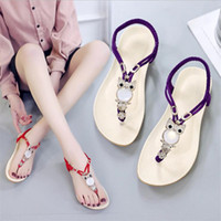 Wholesale bohemian womens sandals resale online - New Flat Bohemian Summer Shoes Sweet Womens Flowers Flat Sandals High Quality Rhinestones Casual Flats Plus Size Sandalias