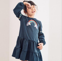 Wholesale rainbow color baby clothes for sale - Group buy Baby Girl Clothing Dress Round Collar Long Sleeve Rainbow Print Ruffles Design Spring Fall Princess Girl dress