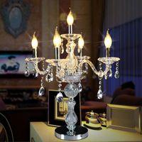 ingrosso candele di lusso-Lampada da tavolo di cristallo della candela di modo Lampada da salotto moderna di lusso della lampada da tavolo del comodino della camera da letto di cristallo di illuminazione moderna della Tabella
