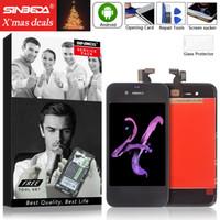 iphone beyaz 4g toptan satış-Sinbeda iPhone 4 4G 4 S Için Yüksek Kalite LCD Ekran ve dokunmatik ekran digitizer komple montaj Siyah veya Beyaz