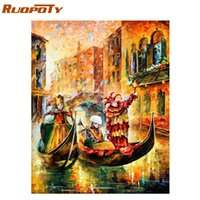 bild boote großhandel-RUOPOTY Rand Abstrakt Boot DIY Malen nach Zahlen Moderne Wand-Kunst-Bild-Landschaftsölgemälde für Hauptdekor Kunstwerk Geschenk