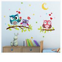 ingrosso sfondi impermeabili d-Carta da parati Adesivo animale felice fumetto impermeabile rimovibile Wall Sticker Owl Bambino Home Decor sfondi per Living Room D
