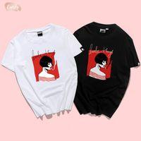camisas ocasionais dropshipping venda por atacado-Novo Design 10 Camiseta Styles Mulheres Casual Homens de manga curta Top Cotton Tees Impresso T Shirt 100% Mulheres Dropshipping