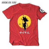 toplar japonya toptan satış-2019 Yaz Japonya Karikatür Dragon Ball Z Erkekler T Gömlek Güneş Goku Baskı T-shirt% 100% Pamuk Chic Serin Tees Giyim Yenilik T219053101 Tops