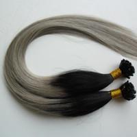uñas unidas al por mayor-Ombre Pre Bonded Nail U TIP Remy Extensiones de cabello humano 100S Sin procesar Virgen Peruana Recta Keratina fusión de cabello Extensiones 100s