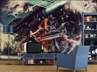 3d schlafzimmer design großhandel-Benutzerdefinierte PaintingWoman zieht einen Zug nostalgische Decke Fototapete Moderne Designs 3D Wohnzimmer Schlafzimmer Decke Tapete Papel De Parede