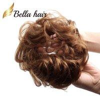 lockiges menschliches haar 613 groihandel-Bella Hair® 100% reales Menschenhaar Scrunchie Bun Hochfrisur Haarteile Wavy Curly oder Messy Ponytail Extension (# NC # 8 # 4 # 27 # 30 # 60 # 613 # Silbergrau)