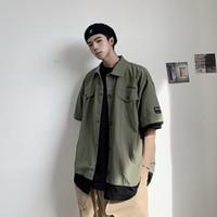 papel de fuego al por mayor-Dear2019 Ece Fire Exceed False Two Paper Lattice Trend Camisa de manga corta elegante Easy Jacket Male