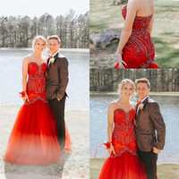 Wholesale natural red coral beads sale for sale - Group buy 2019 Sexy Red Sweetheart Zipper Sleeveless Tulle Beads High End Quality Evening Party Dress Hot Sales
