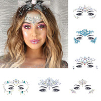 machen temporäre tätowierungen großhandel-Gesicht Juwelen Sticker Make Up Adhesive temporäre Tattoo Body Art Gems Strass Sticker für Festival Party