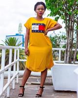 sarı kısa kollu gündelik elbise toptan satış-Bayan Yaz Tasarımcı Mektubu Baskı Elbiseler Sarı Ekip Boyun Kısa Kollu Gevşek Kadın Giyim Rahat Giyim
