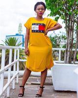 vestido casual de manga curta amarela venda por atacado-Womens Verão Designer Carta Imprimir Vestidos Amarelo Tripulação Pescoço de Manga Curta Solta Feminino Vestuário Casual Vestuário