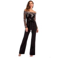 743896b4a6d Women Summer Slash Neck Sequined Jumpsuit Sexy Long Straight Pants Elegant  Rompers Floral Print Office Lady Backless Jumpsuits D19011501