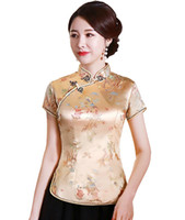 chemise en soie chinoise traditionnelle achat en gros de-Qipao Shanghai Story phoenix chinois top femmes chinoises traditionnelles s faux soie / satin de Chine dragon et chemisier chemise chinoise cheongsam