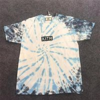 boyun üstleri toptan satış-19SS Kravat boyama KITH Tişört Erkek Kadın O-Boyun Kravat boyama KITH T Shirt KITH En Tees