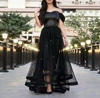 kemikli vücut modern toptan satış-2019 Siyah Gelinlik Modelleri Kapalı Omuz İnciler Tül Saten Kemikli Korse Kısa Ön ve Uzun Arka kat uzunluk ünlü Abiye giyim