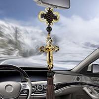 nuevo espejo retrovisor al por mayor-Colgante de metal New Car Cross Diamond cristianos de Jesús religiosas Espejo retrovisor de coche adornos colgantes accesorios de automoción