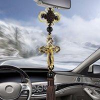 ornamento espelho carro venda por atacado-New Car pingente de metal Diamond Cross Jesus cristãos religiosos Car Espelho Retrovisor pendurando enfeites Auto Styling Acessórios