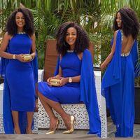 vestidos de baile de formatura aperfeiçoados venda por atacado-Sexy Aberto Para Trás African Prom Dresses Chá Comprimento Royal Blue Arábia Saudita Mulheres Formal Vestidos de Noite Frisado Cintas Apertadas Cocktail Party Dress