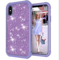 Wholesale shining armor online – custom 3 in1 GOOD phone case Shockproof Hybrid NICE Heavy Duty Glitter Bling Shining Silicone Armor Case For Samsung S9 for iphone X