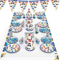fontes da festa de anos dos miúdos venda por atacado-Para 6 crianças Construção Veículos tema de festa de aniversário supplie conjunto de mesa, copos de palha de placa bandeira tablecover