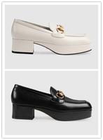 ingrosso piattaforma quadrata-La migliore vendita 2019 donne in vera pelle moda piattaforma robusta mocassini di lusso muli scarpe di alta qualità horsebit casual tacco quadrato scarpe
