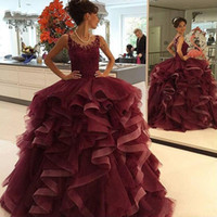 grade girls dress 2021 - Burgundy Lace Ruffle Quinceanera Dress Sweet 16 Girls 2020 Sheer Cap Sleeve Scoop Hollow Back Ball Gown Prom Dress 8th Grade Women Pageant