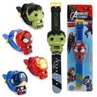 relojes de spiderman para niños al por mayor-Reloj infantil de dibujos animados electrónicos 3D Deformación telescópica Spiderman Batman Relojes infantiles para niños, niñas, niños, reloj de pulsera