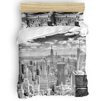 Wholesale grey modern bedding online - Grey Gray City Architecture Decor Duvet Cover Set Funny Design Art New York Print Piece Bedding Set Twin Queen Full King