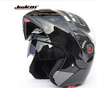 Wholesale flip up visor resale online - Motorcycle Dual Visor helmets Modular Flip Up helmet racing double lens capacete casco moto DOT ECE helmet JIEKAI