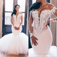 Wholesale off white t strap resale online - African Plus Size Wedding Dresses Sexy Mermaid Long Sleeve Backless Lace Off Shoulder Bridal Wedding Gowns Custom Made Vestidos De Novia