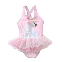 ca13379cc6be0 Swan Swimwear Girls 1-8Y Baby Girl One Piece Swimsuit Cute Kids Unicorn  Swimming Suit Children Pink Skirt Bathing Suit