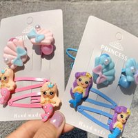 Wholesale plastic hair clips for kids resale online - fashion Mermaid Baby BB clips Cartoon conch girls hair clips girls hair scrunchies baby scrunchies designer hair accessories for kids A6440