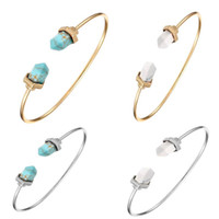 Wholesale marble bracelet for sale - Group buy Bracelets Bangles for Women Trendy Fashion Hot Geometric Hexagonal Prism Pile Marble Faux Stone Cuff Bracelet Bangle