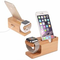 iphone holder şarj yuvası toptan satış-Bambu Ahşap Şarj Istasyonu Apple İzle Şarj Dock İstasyonu Şarj iPhone iwatch Dock Standı Tutucu için Tutucu Stand