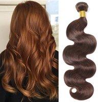açık kahverengi indian saç toptan satış-Toptan 4. Renk Açık Kahverengi Vücut Dalga Paketler Ham Virgin Hint Saç İnsan Saç Paketler Remy Saç Uzatma Beyo