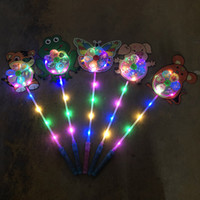 Wholesale girls toys for sale resale online - Net Red Luminescent Windmill Toys Plastic Children s Cartoon Animal led Seven color Flash Handles for Hot Sale