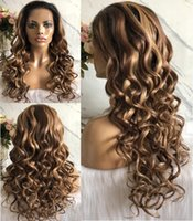 Wholesale fast shipping virgin hair resale online - Celebrity Wig Lace Frontal Wig Ombre Highlight Color A Brazilian Virgin Human Hair Full Lace Wigs for Black Women Fast