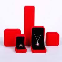 conjuntos de caja de joyería de terciopelo al por mayor-Nueva Lovely Pink Velvet Jewelry Display Case increíble anillo de bodas pendientes collar pulsera organizador de almacenamiento de regalo Set Box 9 color opcional