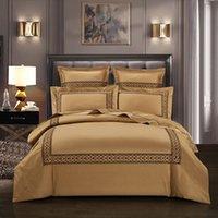 juego de edredón tamaño reina de oro al por mayor-600TC del algodón egipcio del bordado de oro gris funda nórdica cama determinada de rey Queen Size 4 piezas en hoja de cama de la cubierta de edredón fundas de almohada