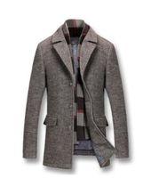 erkek tekli gömlek palto toptan satış-Uzun Ceketler Coats Tek Breasted Casual Erkek Kalın Pamuk Yün Karışımı Ceketler Tam Kış Erkek Yün Palto 5XL Için