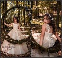 Wholesale lace corset back wedding dresses online - Pink Flower Girl Dresses For Western Country Forest Weddings Sheer Jewel Neck Corset Back Applique Long Kids Formal Gown Girl Pageant Dress