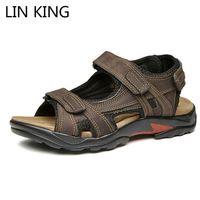 ingrosso lin uomini-LIN KING Big Size 48 Scarpe da gladiatore estive romane Sandali da uomo Scarpe casual in vera pelle Sandali da spiaggia impermeabili da uomo all'aperto