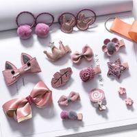 носовой платок оптовых-18Pcs Kids Bow Cartoon Barrettes Cute Headwear Set Infant Mini Clip Hair Accessories Baby Girl Hairpin Crown Decoration