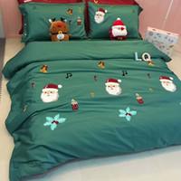 Wholesale bedding set merry christmas online - New blue Lovely Merry Christmas gift Deer Tree Queen King Cartoon Bedding set Cotton Sanding Duvet cover Bed sheet set
