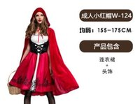 vestidos de noiva vestidos de noiva venda por atacado-Costume Noite Carnaval Feminino Adulto COS vestido da noiva princesa vampiro bruxa Adulto Chapeuzinho Vermelho Roupa Manto