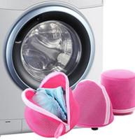 Wholesale lingerie wash bags online - Foldable Laundry Bag Bra Underwear Lingerie Clothes Washing Machine Protection Net Mesh Bag zipper Laundry Basket KKA6518