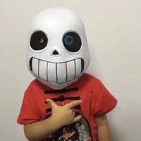weiße partymasken zum verkauf großhandel-Undertale Sans Spiel Maske Mann Kinder Latex Cosplay Weiß Full Face Facepiece Party Bardian Kopfbedeckungen Heißer Verkauf 26zpD1