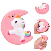 Wholesale kids flashing glasses resale online - New Squishy Slow Rising Unicorn Moon Flash Powder Charms Jumbo Kawaii Phone Straps Pendant Stress Reliever toys kids Christmas Birthday Gift