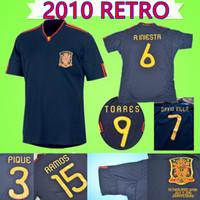 camisetas de torres al por mayor-Camisa de fútbol retro de España 2010 Jersey de fútbol Camiseta clásica clásica de época Colección 10 uniforme # 9 TORRES # 8 XAVI # 6 A.INESTA # 7
